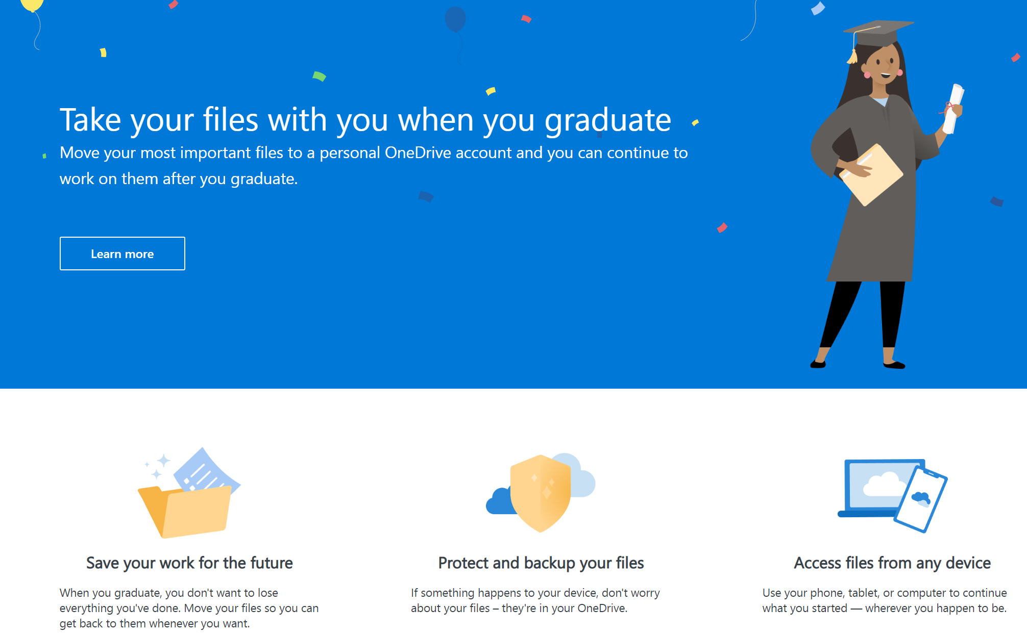 Take Your Files (&email!) With You Using OneDrive Graduation